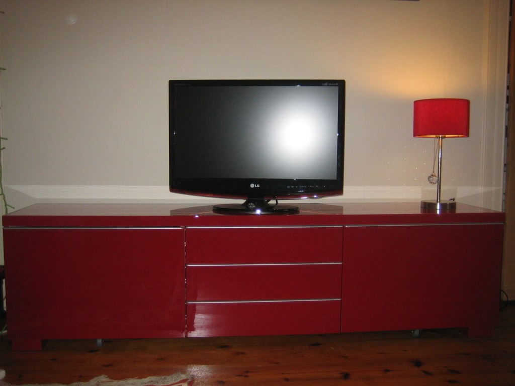 Shiny new telly and cabinet